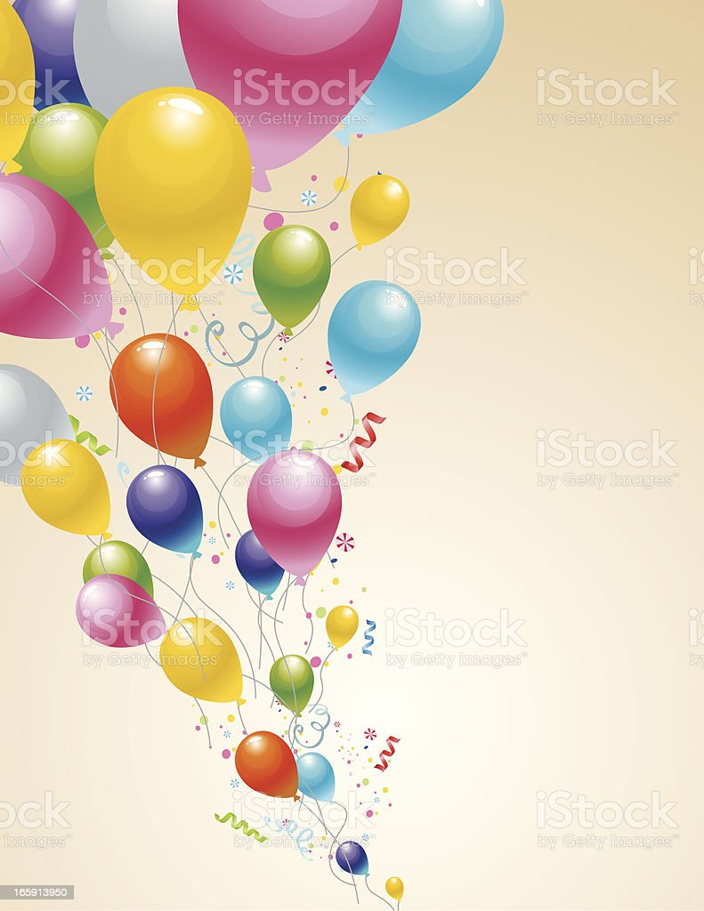 Cartoon sketch of colorful balloons flying with confetti royalty-free stock vector art