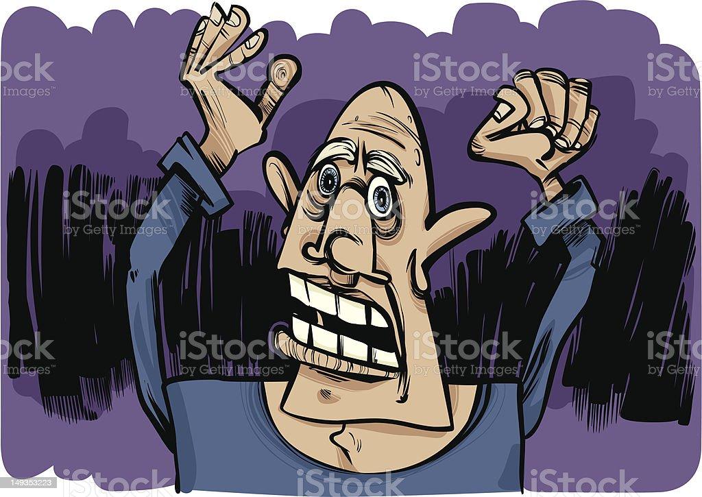 cartoon sketch of scared man royalty-free stock vector art