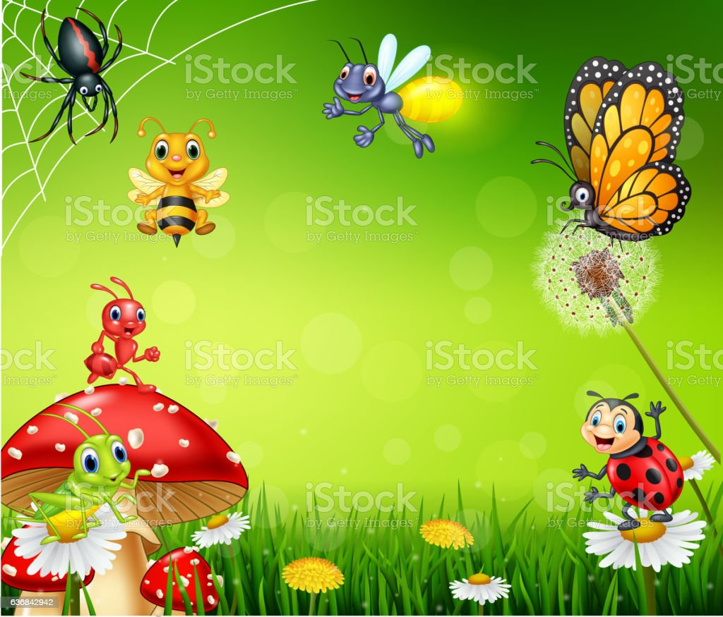 Cartoon small insect with nature background vector art illustration
