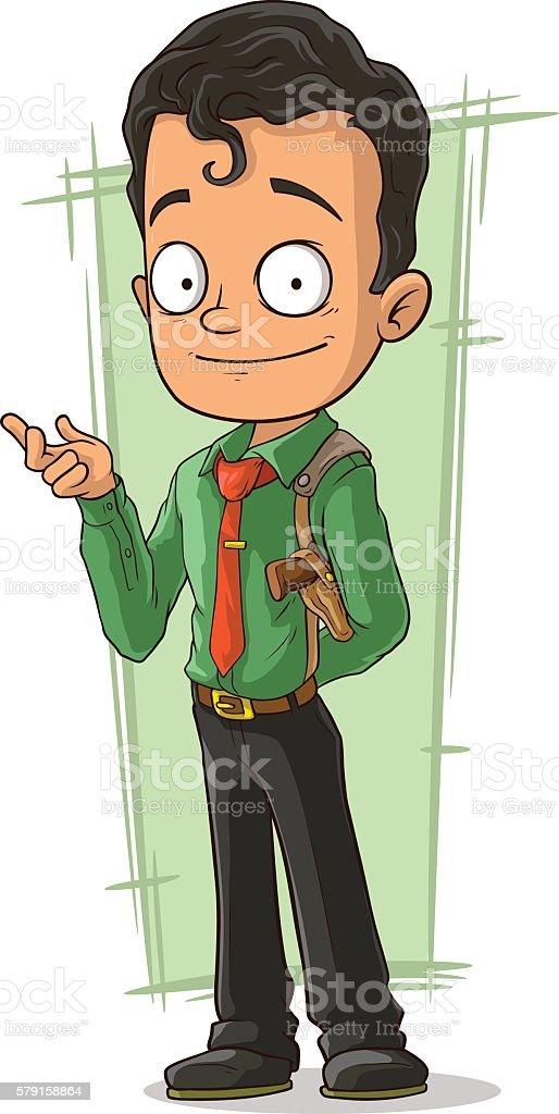 Cartoon smiling detective with pistol vector art illustration