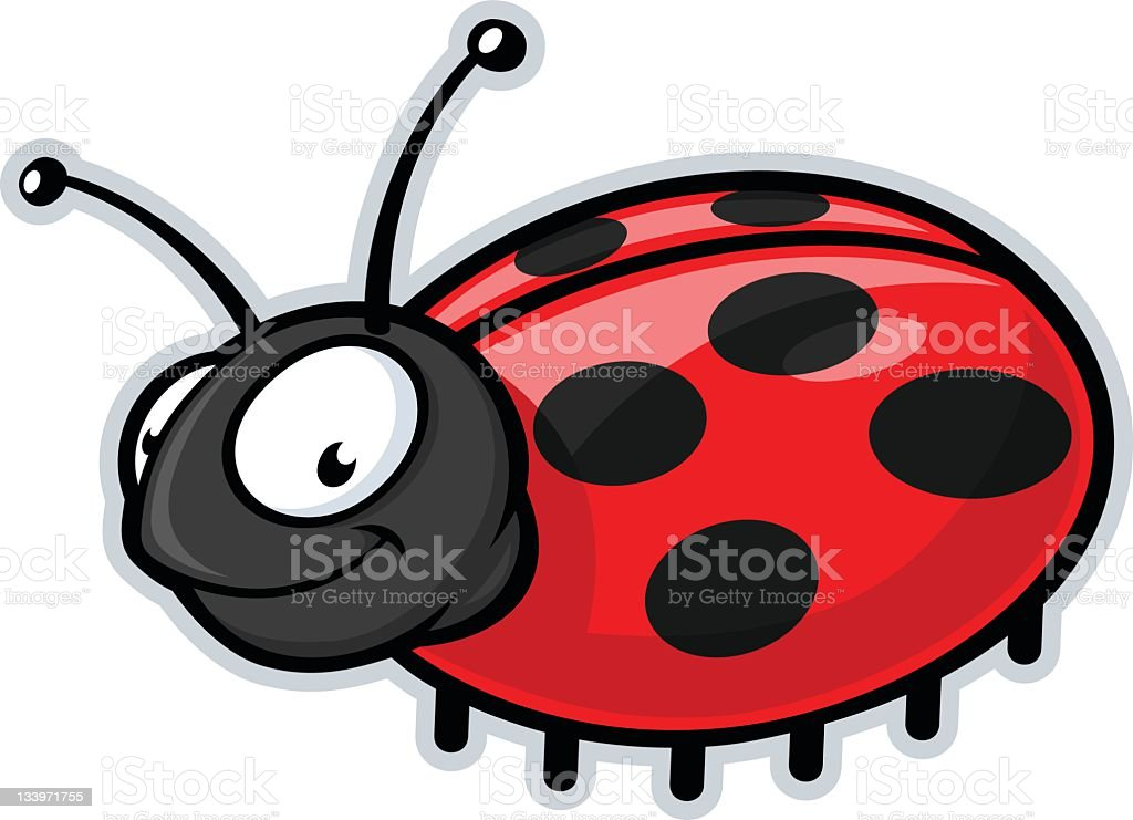 Cartoon smiling lady bug looking towards the front vector art illustration