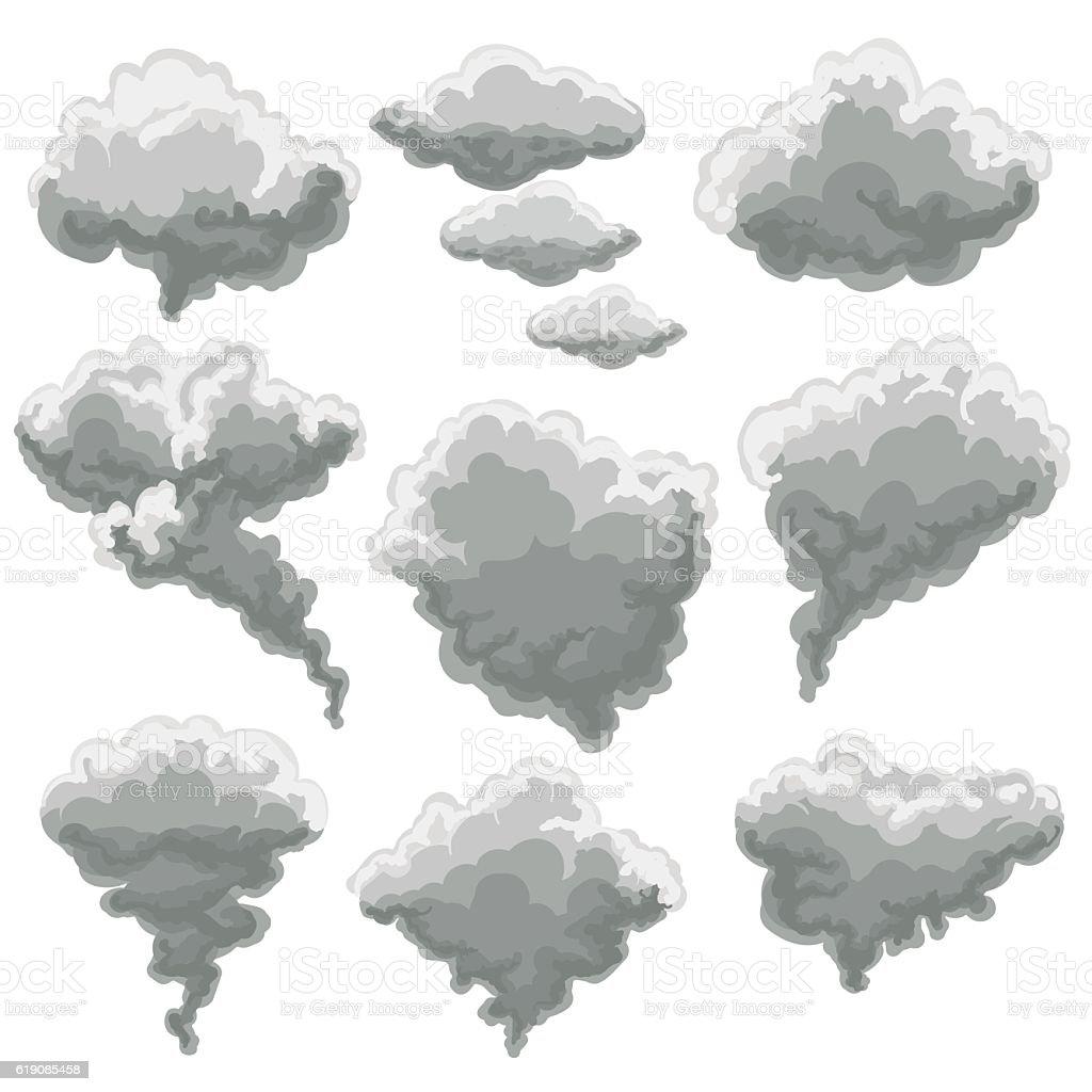 Cartoon smoking fog clouds vector art illustration