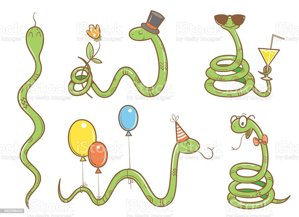 Cartoon snakes set. vector art illustration