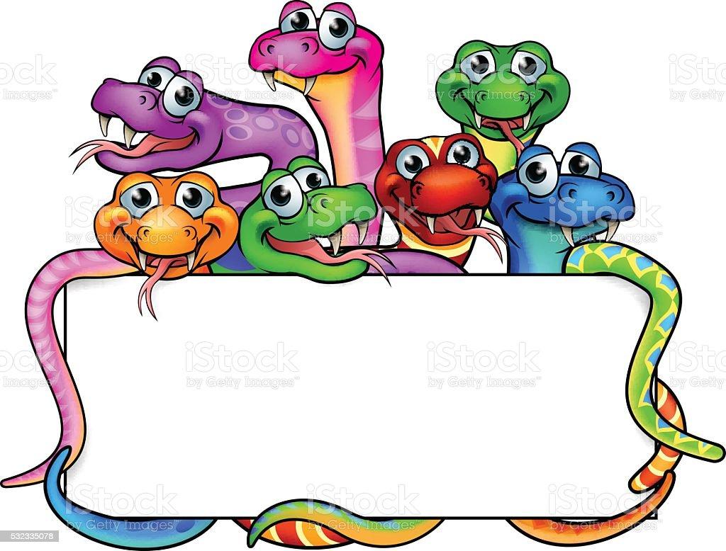 Cartoon Snakes Sign vector art illustration