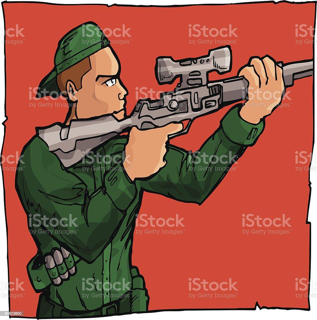 Cartoon sniper royalty-free stock vector art