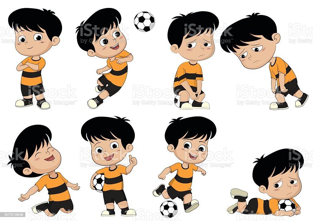 Dessin de football enfants avec différentes postures. stock vecteur libres de droits libre de droits