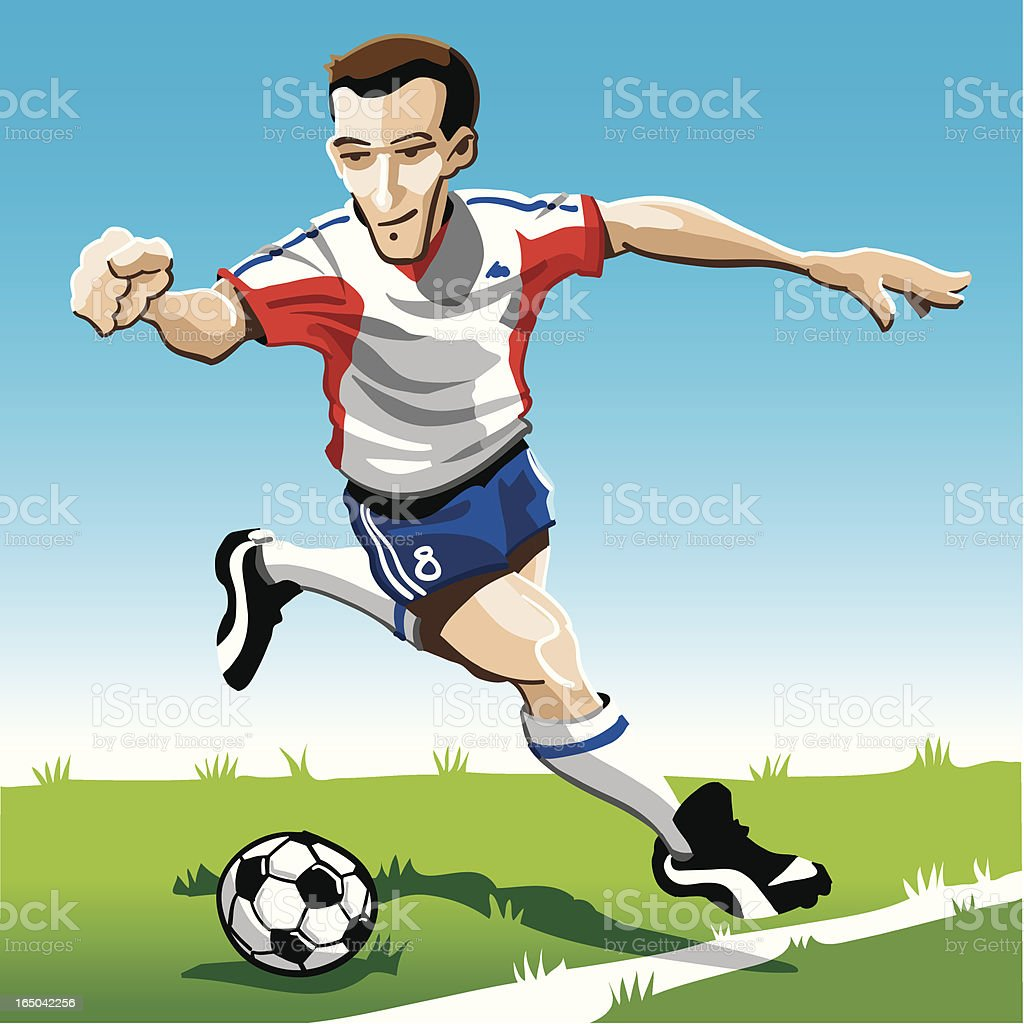 Cartoon Soccer Player Red-White royalty-free stock vector art