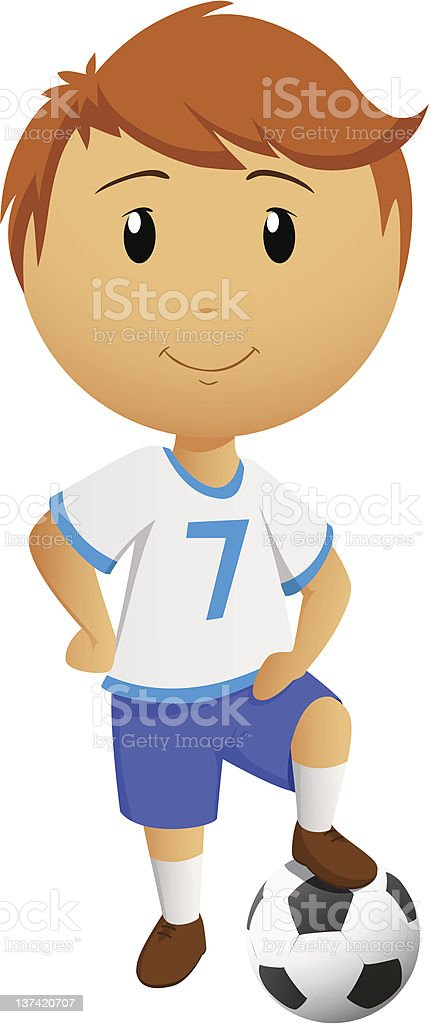 Cartoon soccer player with ball royalty-free stock vector art