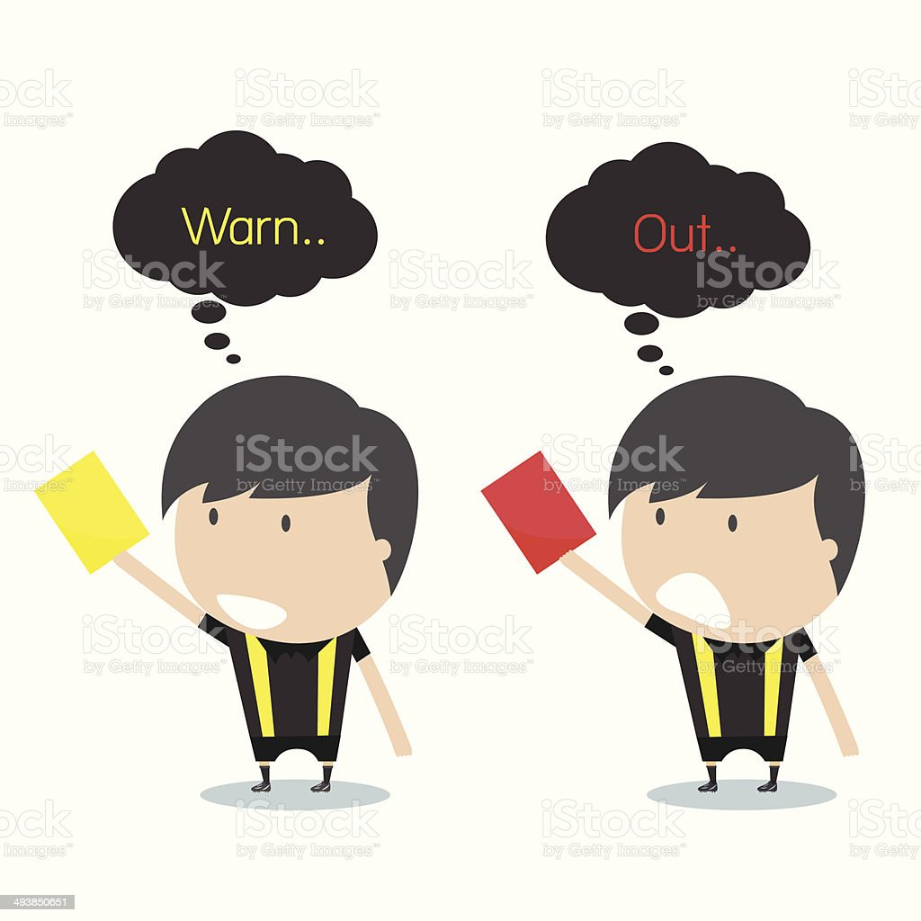 Cartoon soccer referees holding red and yellow card. Vector illu vector art illustration