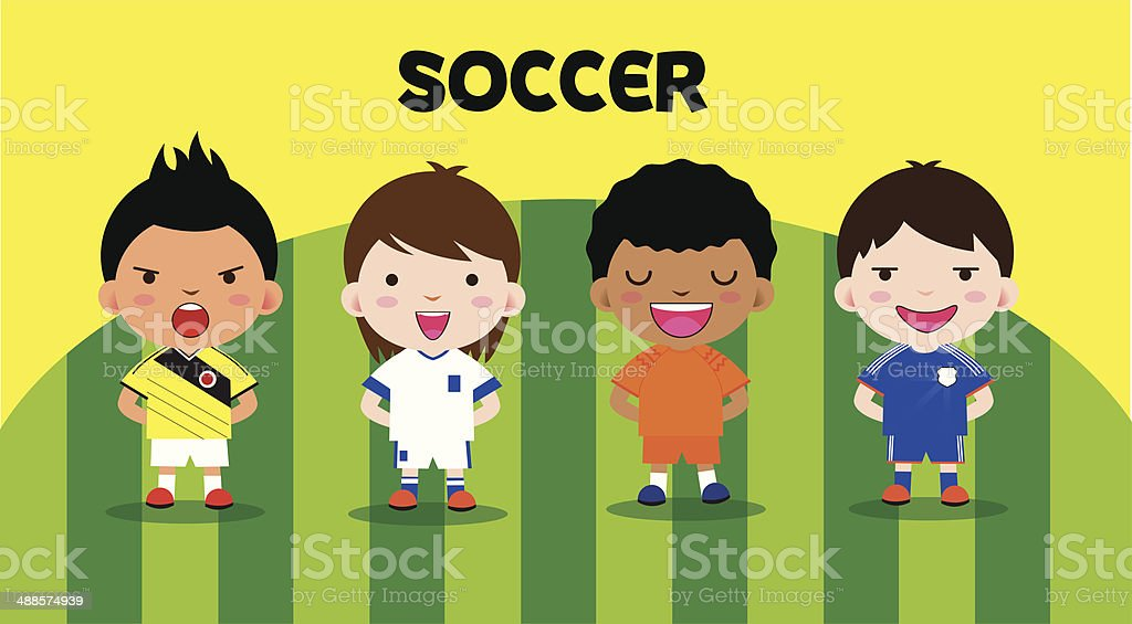 cartoon soccer set royalty-free stock vector art