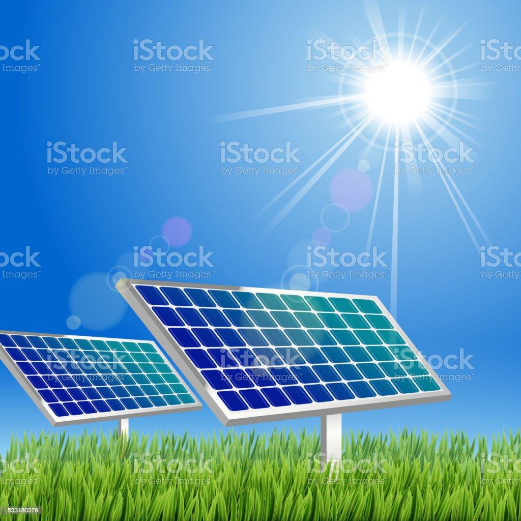 Cartoon Solar panel in the green vector art illustration