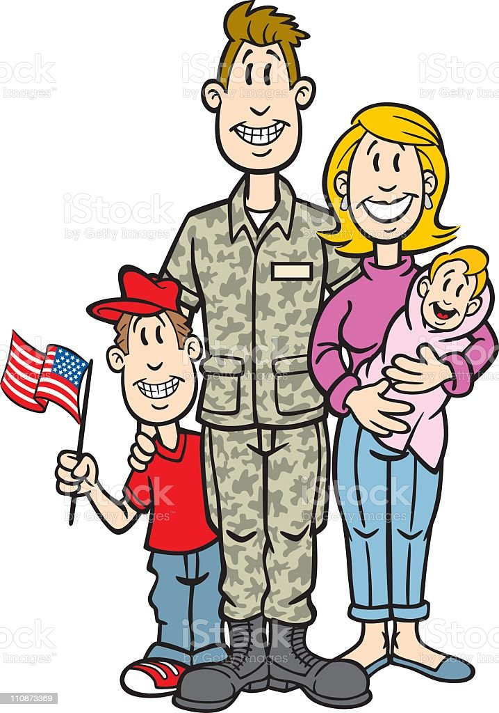 Cartoon Soldier With His Family vector art illustration