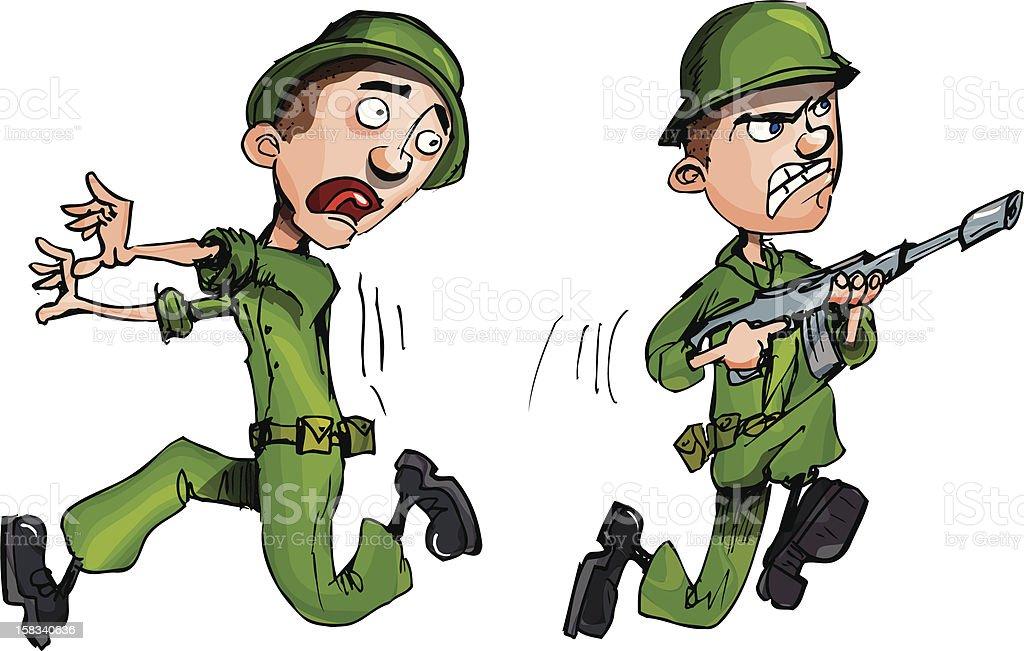 Cartoon Soldiers stock vector art 158340636 | iStock Soldier With Gun Cartoon