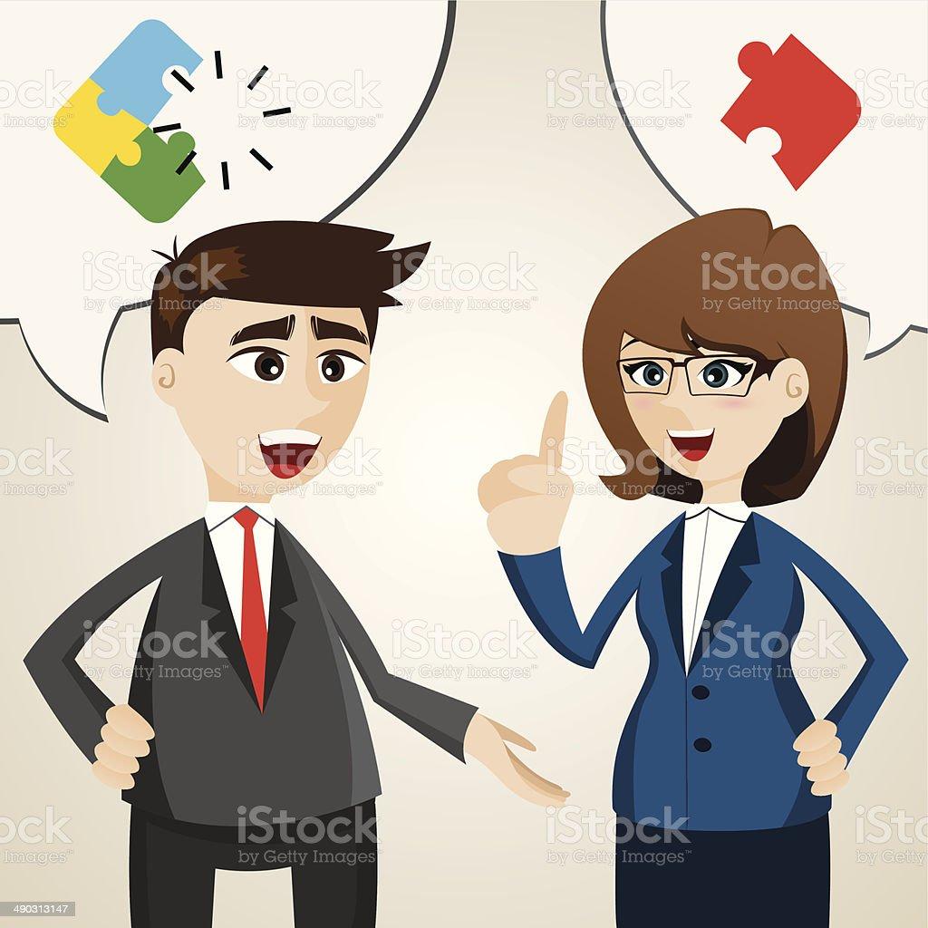 cartoon solve problem between businessman and businesswoman royalty-free stock vector art