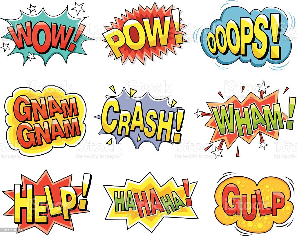 Cartoon sound effects vector art illustration