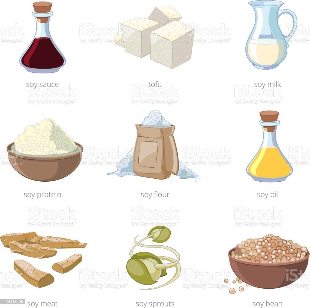 Cartoon soy food vector set vector art illustration