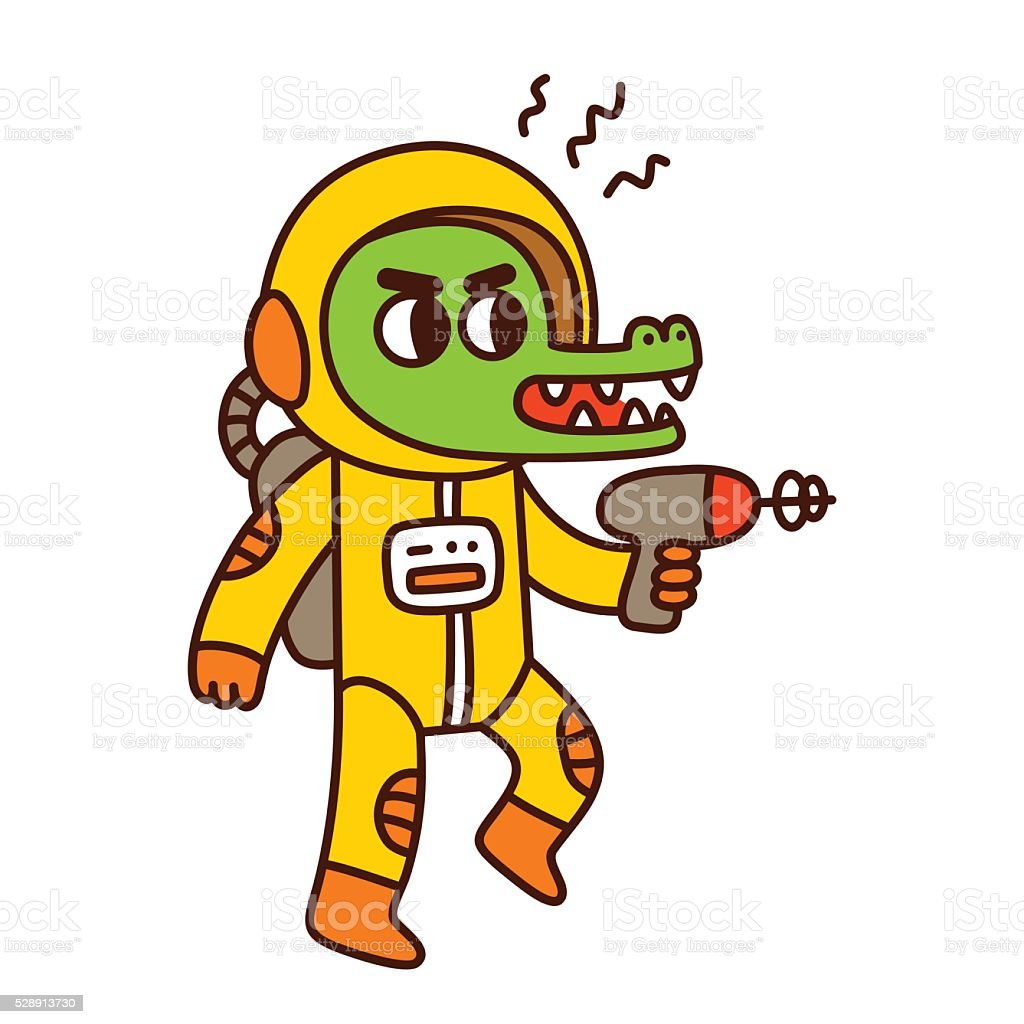 Cartoon space alien vector art illustration
