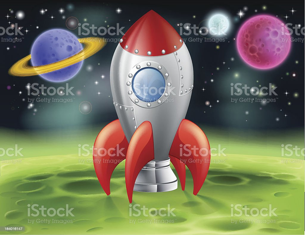 Cartoon Space Rocket on Alien Planet royalty-free stock vector art