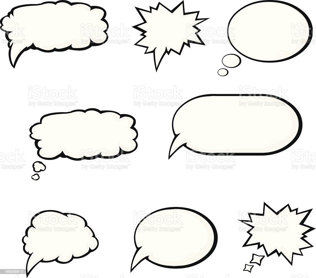 Cartoon Speech and Thought Bubble Icons vector art illustration