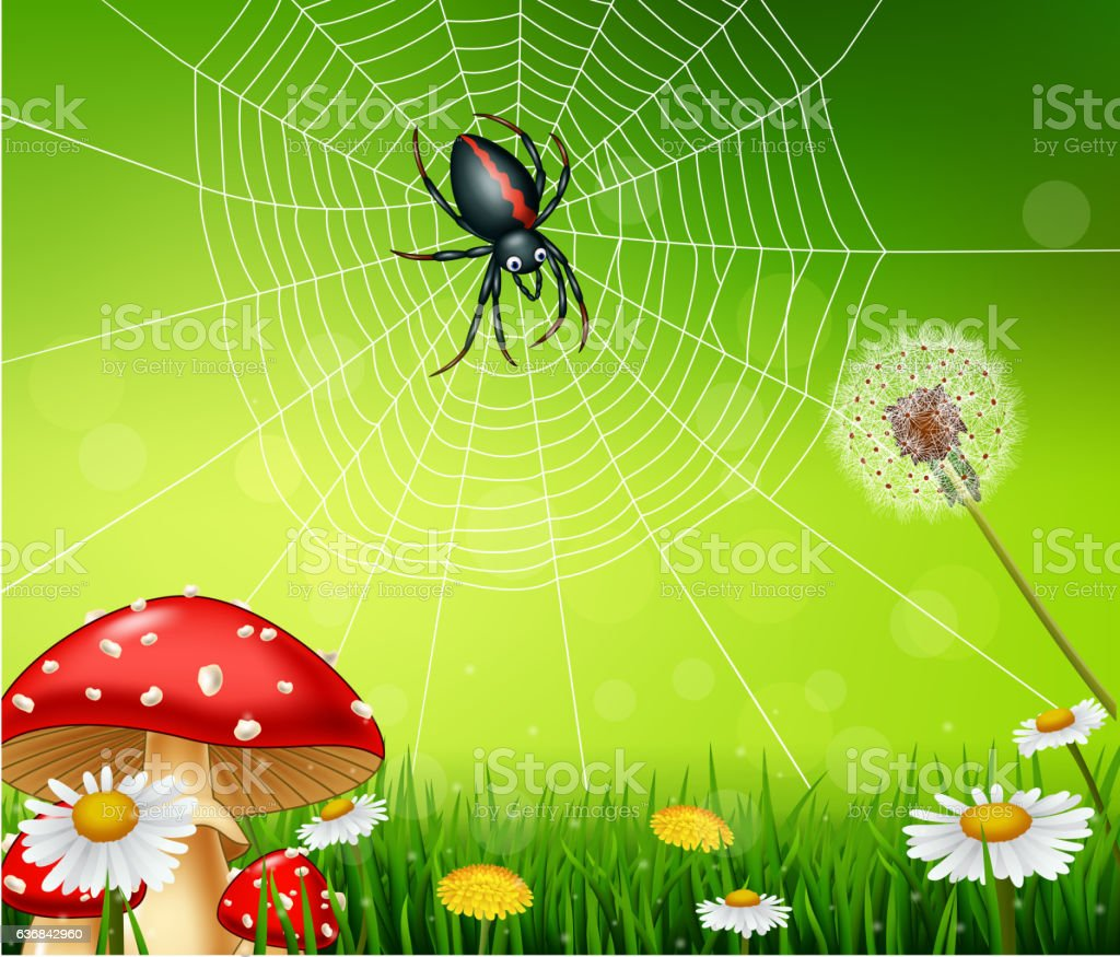 Cartoon spider with nature background vector art illustration