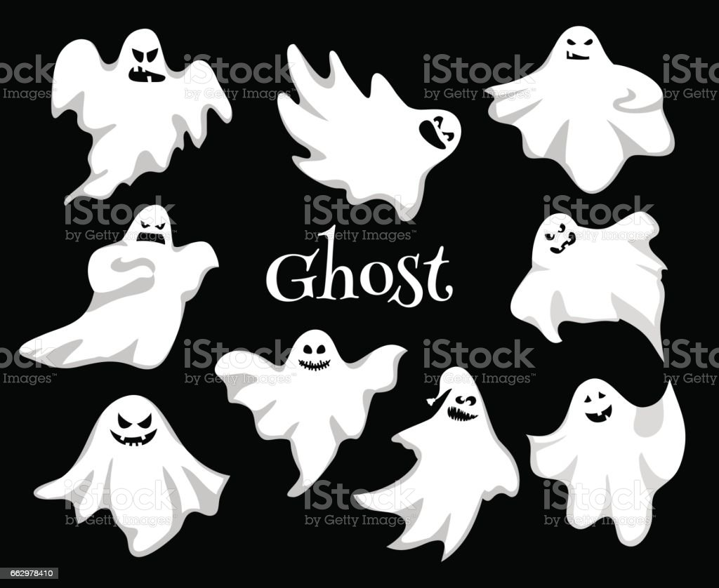 Cartoon spooky Ghost character vector set. Spooky and scary holiday...
