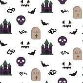 Cartoon spooky halloween vector seamless pattern.