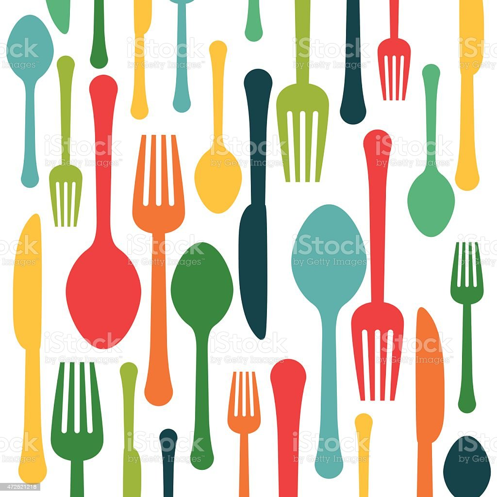 Cartoon spoons and forks on a white background vector art illustration