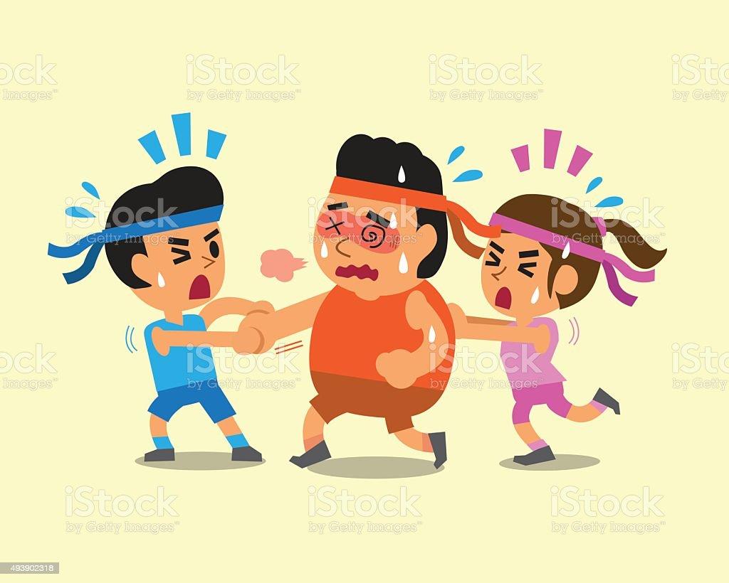 cartoon sport people helping fat man to run stock vector art