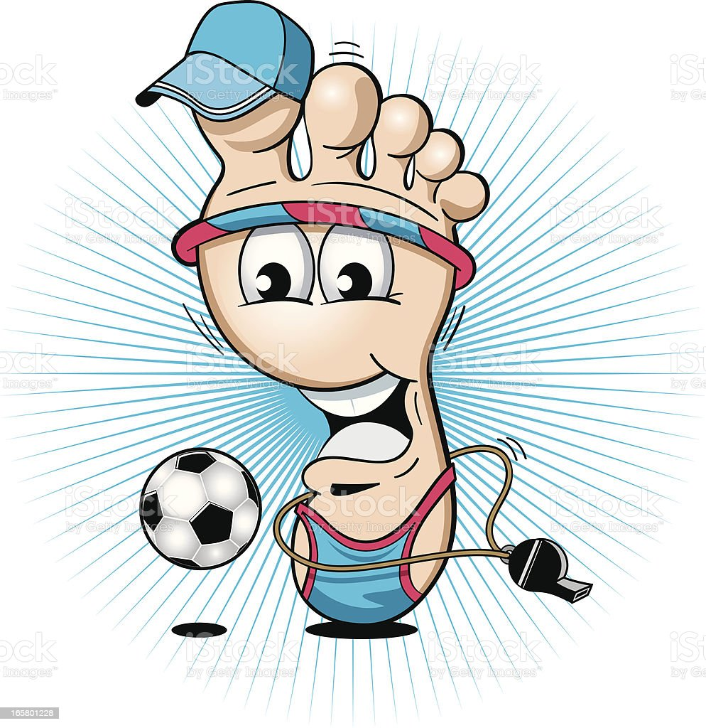 Cartoon Sporty Foot Playing with a Football royalty-free stock vector art
