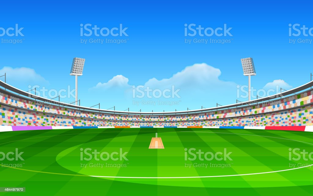 A cartoon stadium for the game of cricket vector art illustration