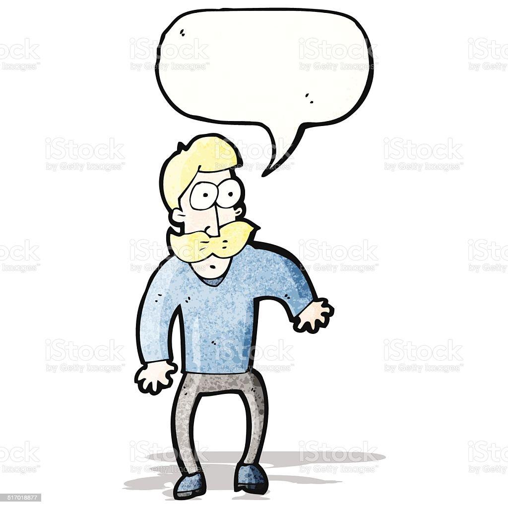 cartoon staring man vector art illustration