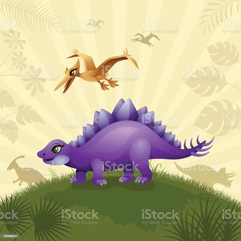Cartoon Stegosaurus vector art illustration