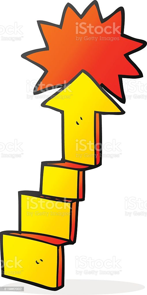 cartoon stepping up arrow vector art illustration