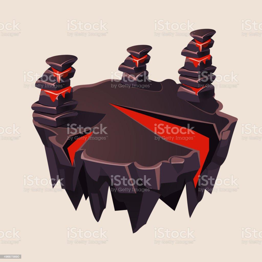 Cartoon Stone Isometric Island with Volcano for Game, Vector Illustration vector art illustration