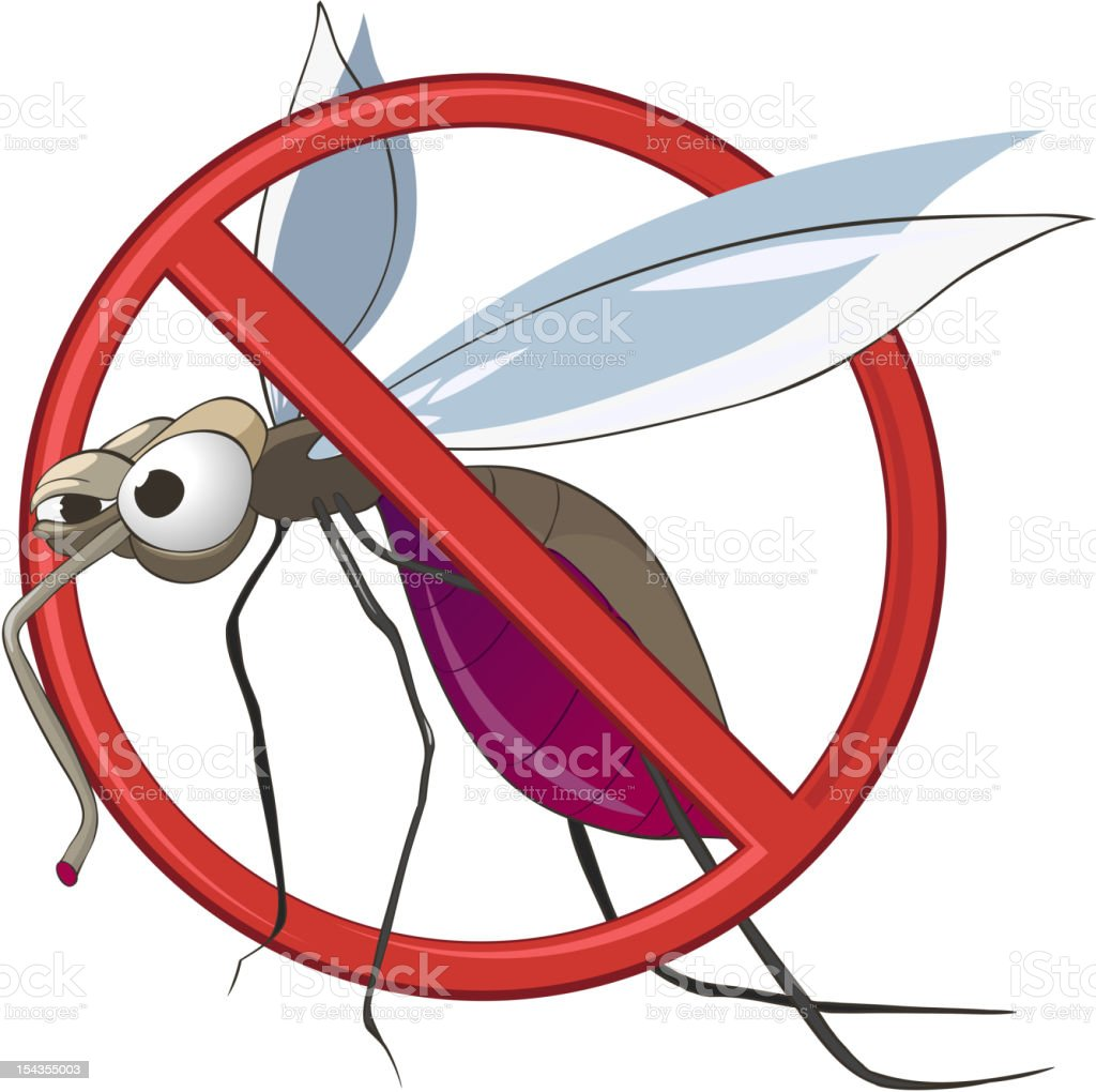 Cartoon STOP Mosquito royalty-free stock vector art