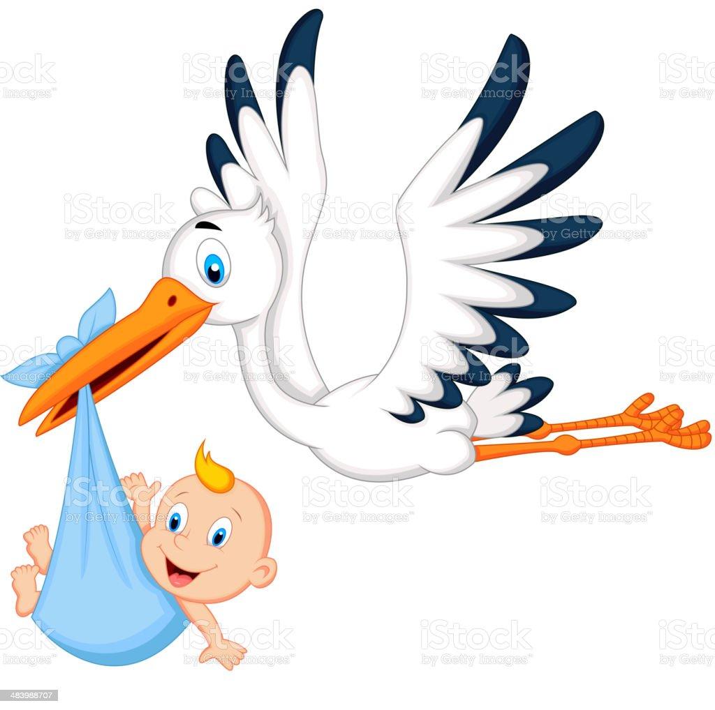 Cartoon stork carrying baby vector art illustration