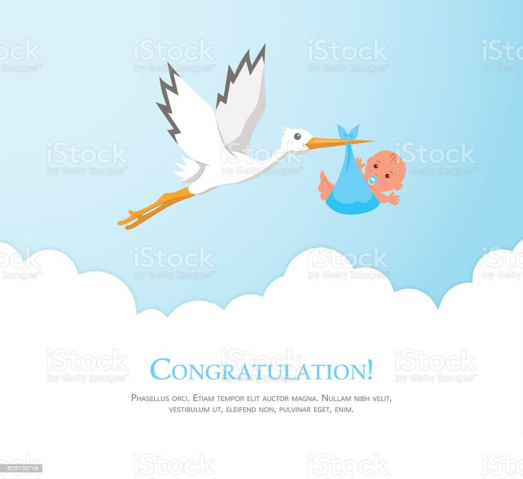 Cartoon stork in sky with baby. vector art illustration