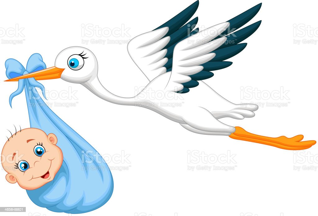 Cartoon stork taking a newborn vector art illustration