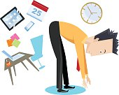 Cartoon stretch break with office symbols in the background