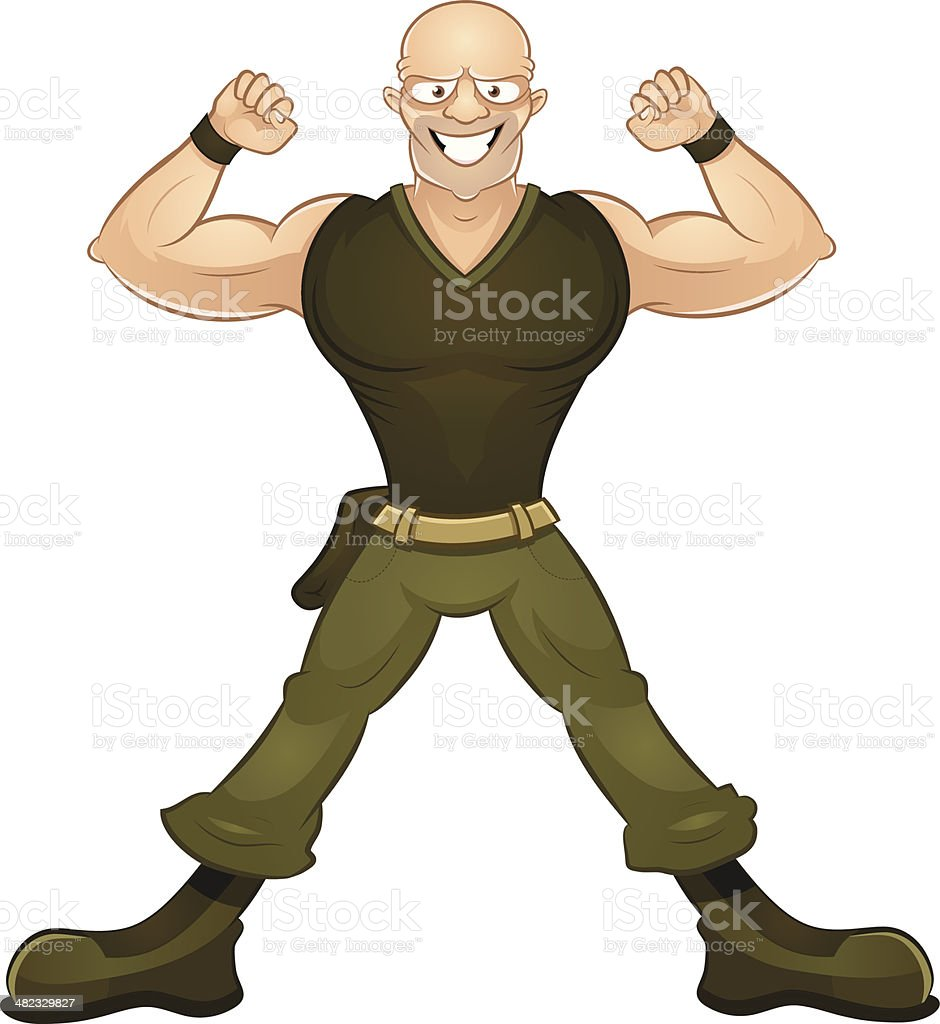 Cartoon strong soldier showing his biceps royalty-free stock vector art