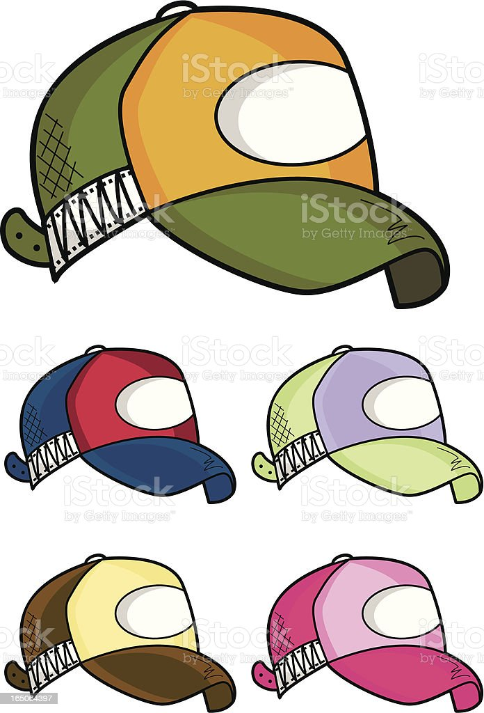 Cartoon style baseball cap in a variety of colours royalty-free stock vector art