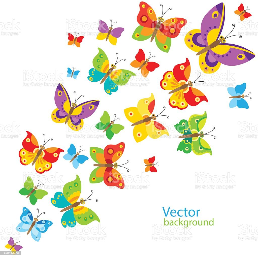 Cartoon Style Butterfly Background. Colorful Butterflies In Vector. vector art illustration
