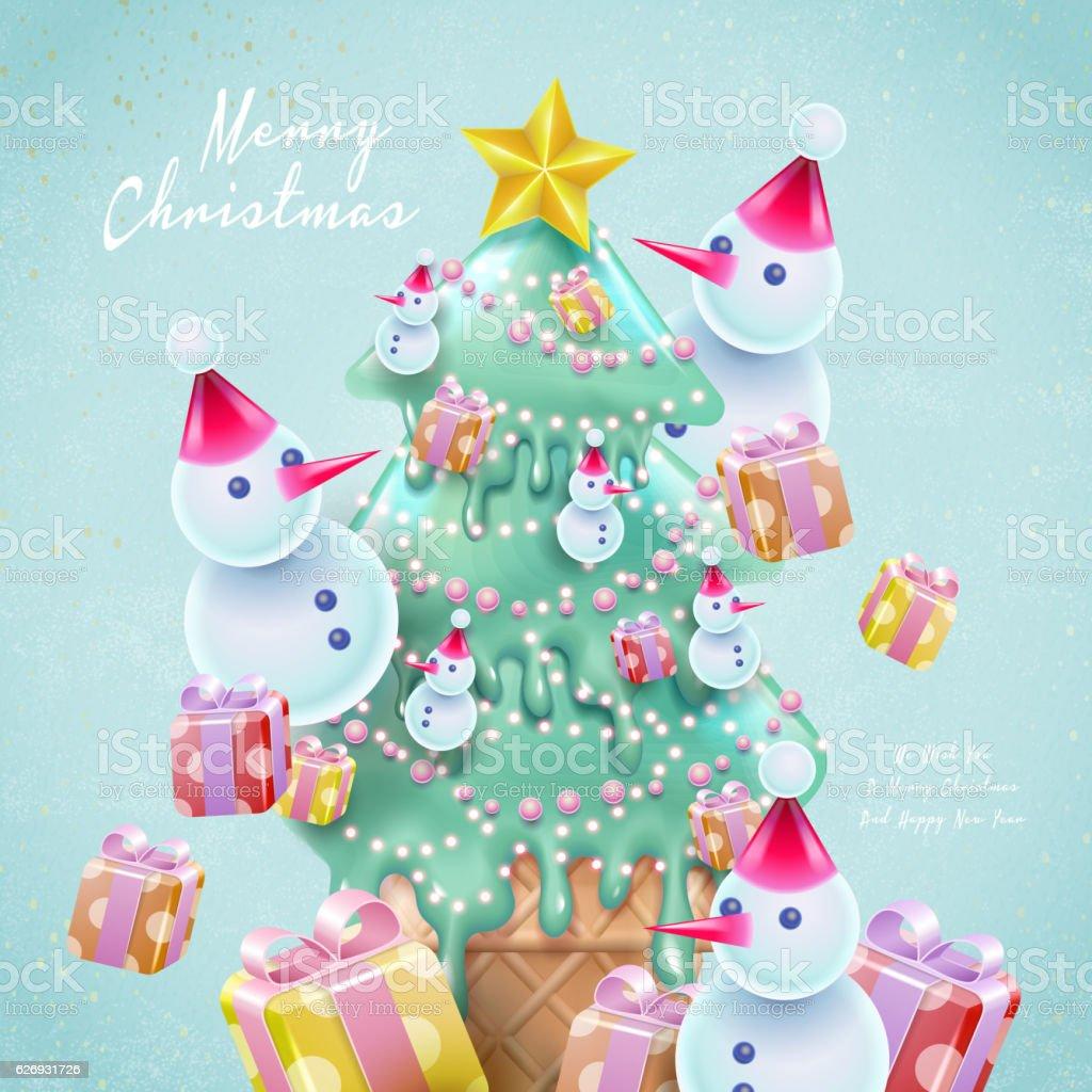 cartoon style christmas card vector art illustration