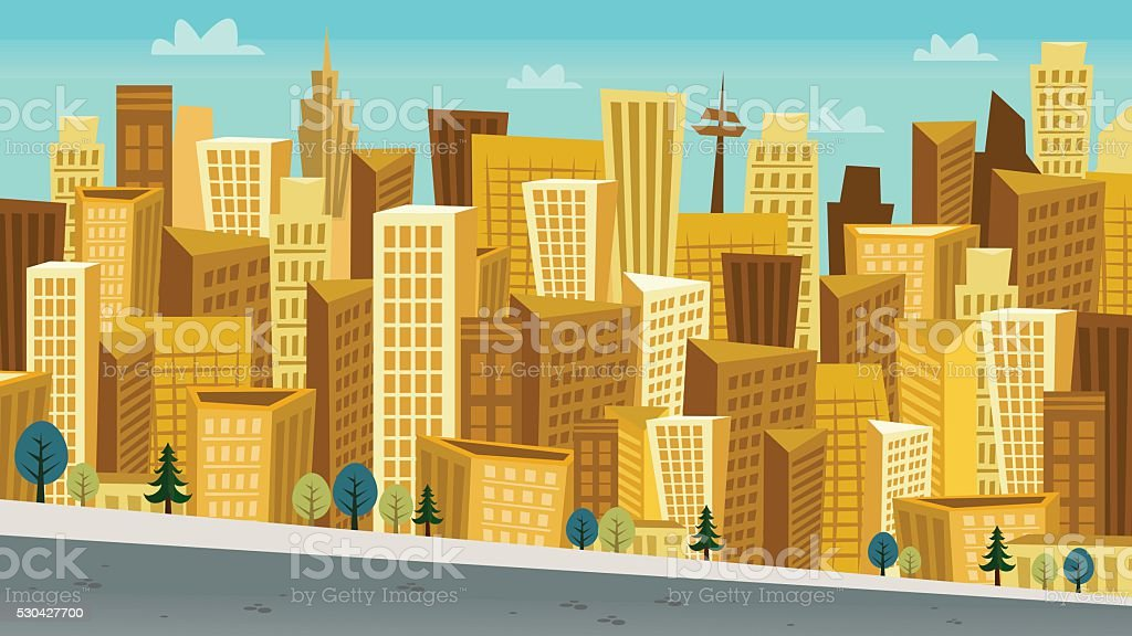 Cartoon Style Day Cityscape with Kooky skyscrapers vector art illustration
