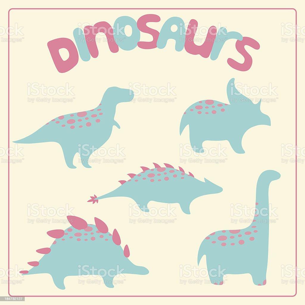 Cartoon style dinosaurs set royalty-free stock vector art