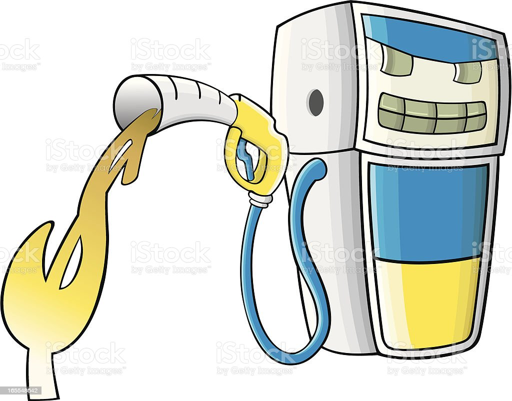 Cartoon style fuel pump vector art illustration