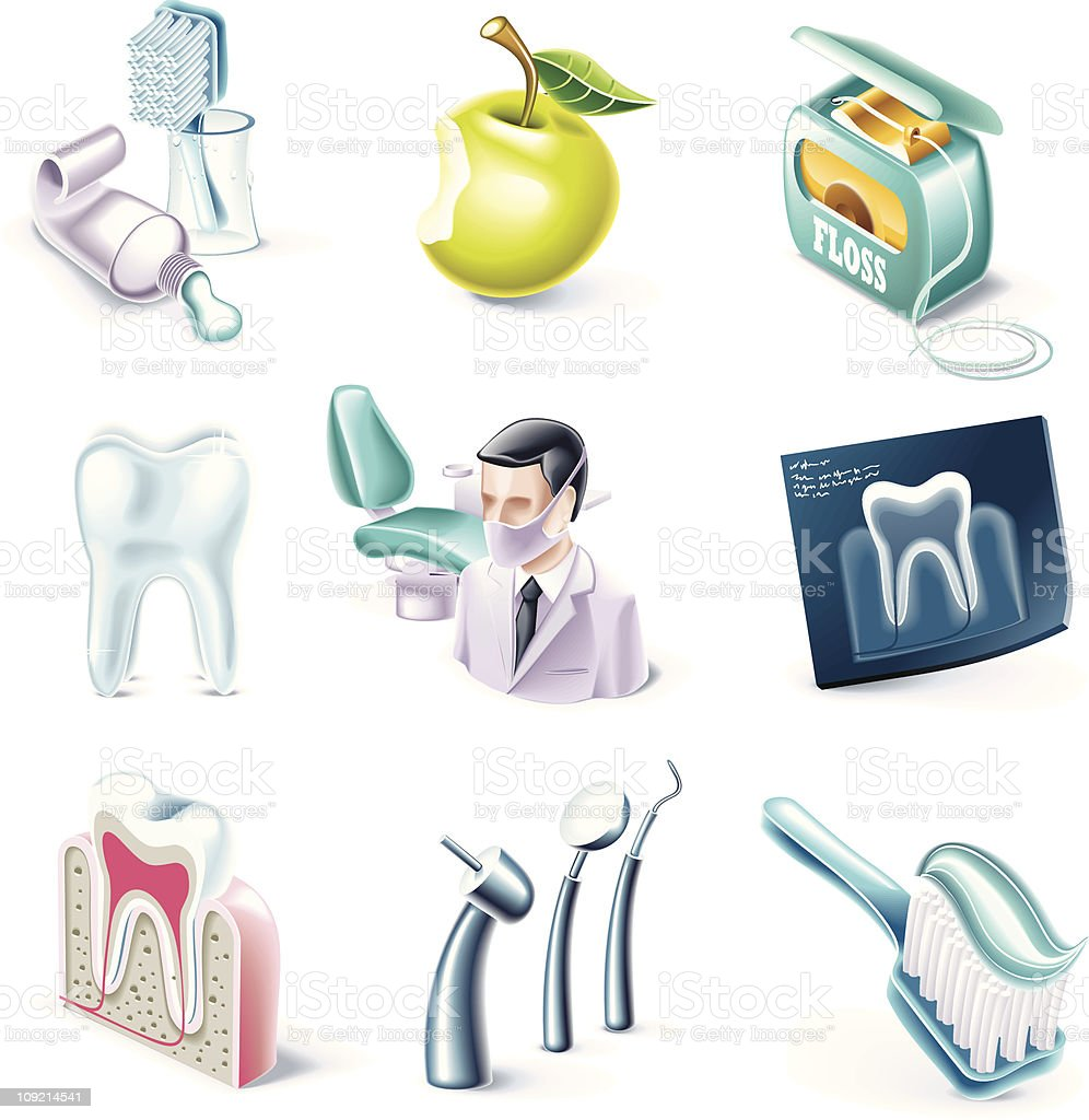 Cartoon style icons. Dentistry royalty-free stock vector art