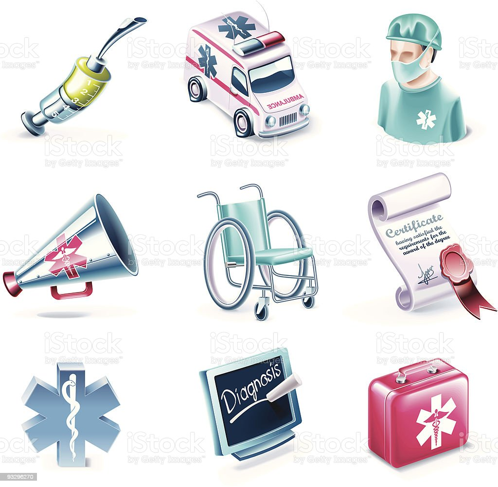Cartoon style medical icon set royalty-free stock vector art