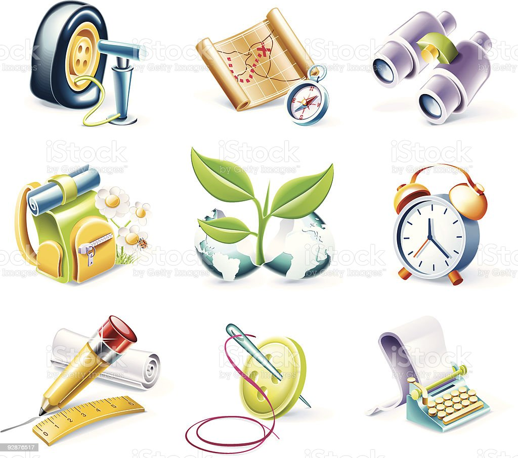 Cartoon style objects royalty-free stock vector art