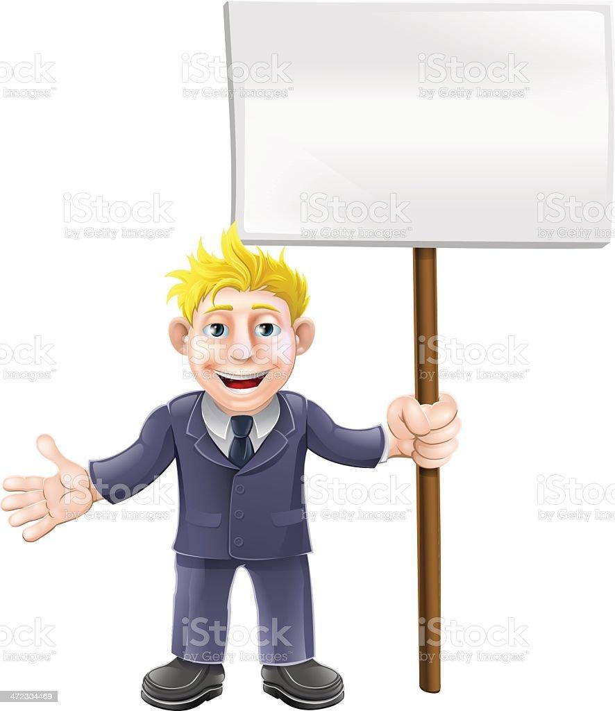 Cartoon suit man holding sign royalty-free stock vector art